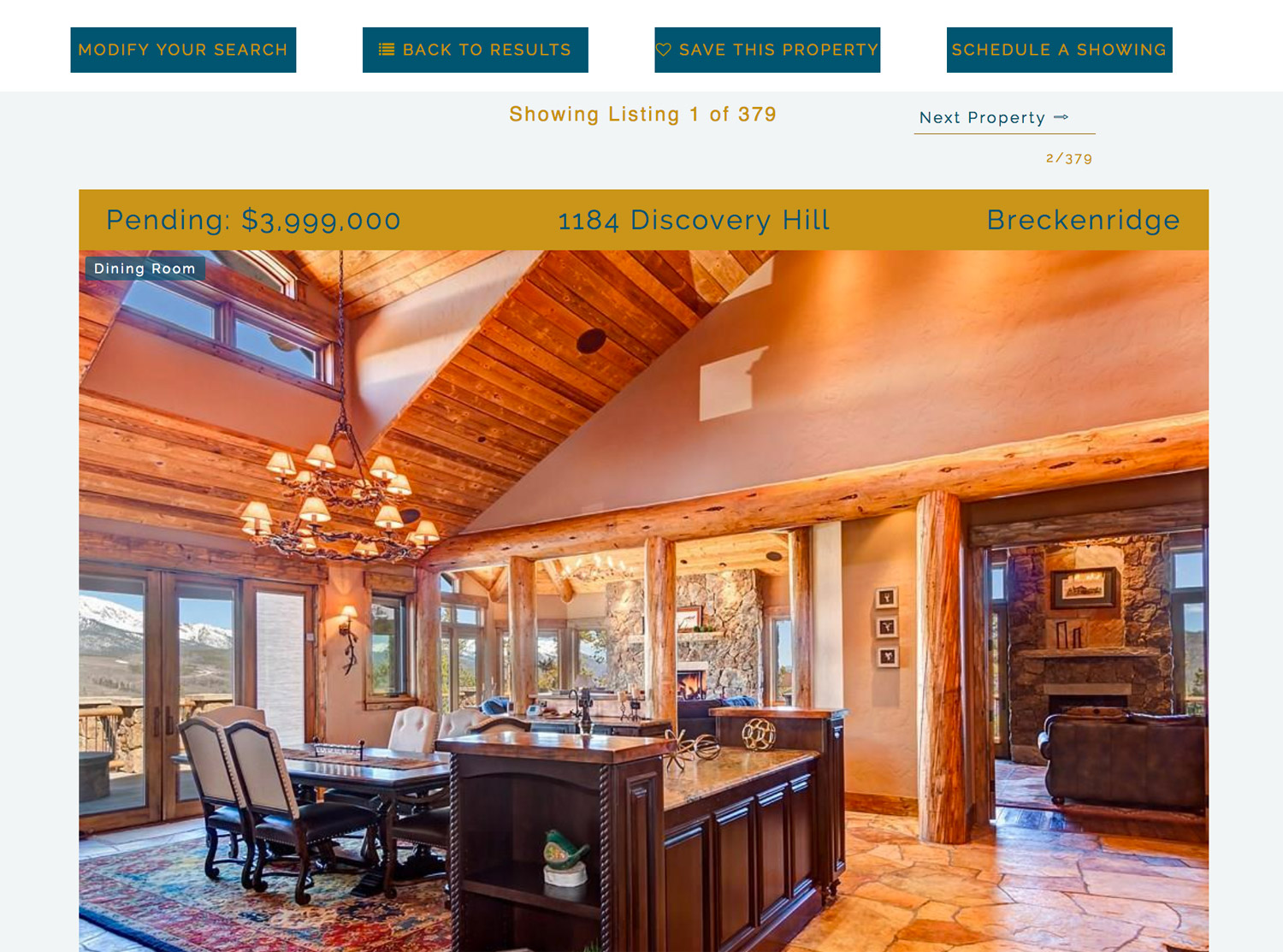 a screenshot of a property details  page at Real Estate Summit County