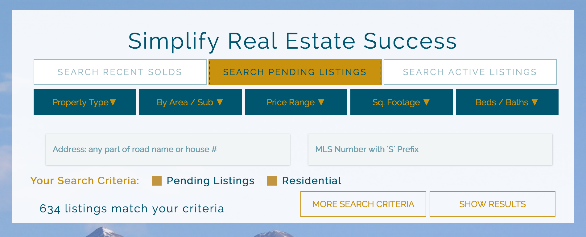 a screenshot of pending properties highlighted in our comprehensive, customizable search tool available at Real Estate Summit County.