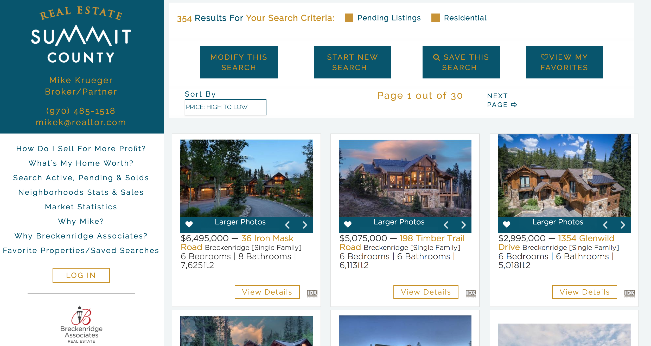 a screenshot of the results page at Real Estate Summit County