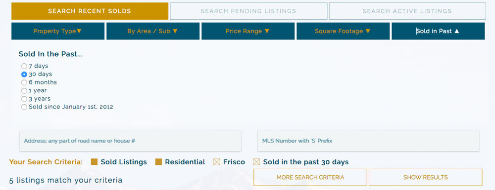 example of results of active listings