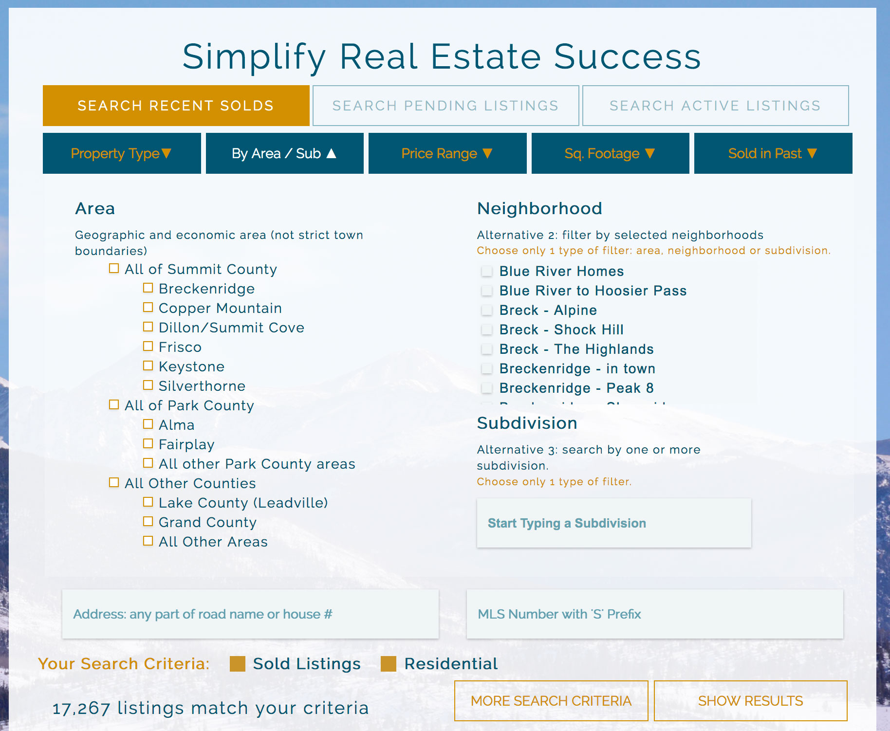 a screenshot of comprehensive, customizable search tool available at Real Estate Summit County.