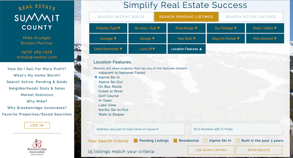 a screenshot of the more search feature at Real Estate Summit County